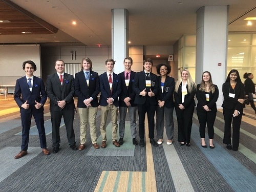 CHS DECA MEMBERS  kick off the weekend at the State Leadership Conference at the Oceanfront's Virginia Beach Convention Center. Participants competed against students from over 150 schools, hoping to become one of the top nine finalists in their [respective] category.