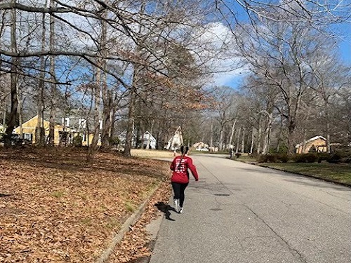 THIS SOLO PARTICIPANT takes strides to contribute to the CHKD Love Run/Walk, although it was completed virtually this year. This participant turned her miles into a donation for a notable cause.