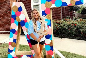 FALCON ALUMNUS ASHLEY McGrath pledges the Delta Gamma sorority at the University of Alabama. McGrath was a part of one of the first pledge classes to participate in online sorority recruitment.