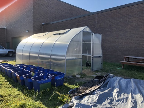 THE SCHOOL GREENHOUSE stands next to the football field ready for students to create fresh produce and herbs. SNHS Members and students in the Beach Buddies program are working together to make the school green.
