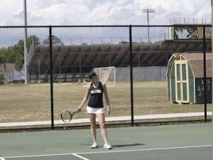 SENIOR KATIE GEN wins her tennis match against long time rival First Colonial High School. Gen's goal is to continue on with the team and win the  coveted state championship.