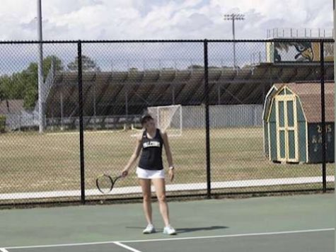 SENIOR KATIE GEN wins her tennis match against long time rival First Colonial High School. Gens goal is to continue on with the team and win the  coveted state championship.