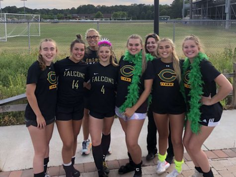 FALCON SENIOR GIRLS celebrate senior night and another big win against the Sun Devils of Salem High School.  The girls varsity team now has six wins, two ties and one loss, with one game left in the regular season.